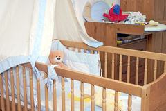 Baby bed Stock Images