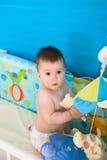 Baby in bed royalty-vrije stock foto