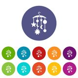 Baby bed carousel set icons Stock Photo