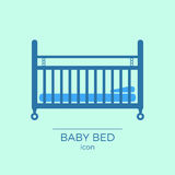 Baby bed flat icon. Newborn sleeping cot symbol. With mattress and pillow royalty free illustration