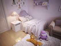 Baby bed for girls classic style Royalty Free Stock Photos