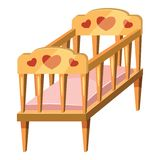 Baby bed icon, cartoon style Royalty Free Stock Image