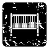 Baby bed icon, grunge style Royalty Free Stock Images