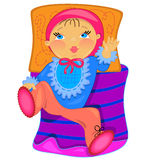 Baby in bed.  illustration.isolated object Royalty Free Stock Image