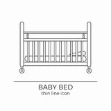 Baby bed line icon. Newborn sleeping cot symbol. With mattress and pillow vector illustration