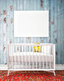 Baby bed with mock up poster, hipster design, Royalty Free Stock Image