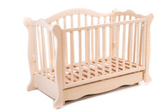 Baby bed wooden on a white background Stock Photography