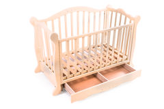 Baby bed wooden on a white background Stock Image