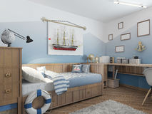 Baby bed for a young teenager in a ship style with a lifeline an Royalty Free Stock Images