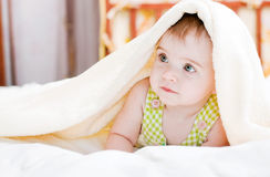 Baby in bedroom Stock Photos