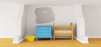 Baby bedroom with a crib. Royalty Free Stock Photography