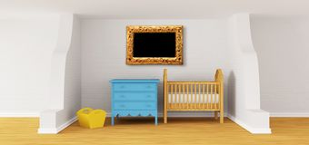 Baby bedroom with a crib. Stock Images