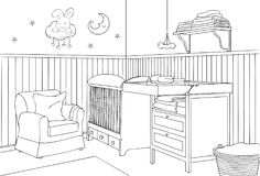 Baby Bedroom Outline and Sketch Vector Illustration. For many purpose such as family, architecture and interior book, magazine, website, blog and other print Stock Illustration