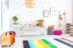 Baby bedroom in scandinavian style Royalty Free Stock Images