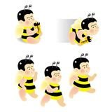 Baby bee. A series of cartoon baby bee, vector, illustration Royalty Free Stock Photography