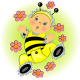 Baby in bee costume  illustration Royalty Free Stock Image