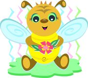 Baby Bee with Flower Stock Images