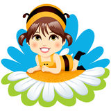 Baby Bee Girl. Cute little baby girl with bee costume resting lying down on top of a white daisy smiling happy vector illustration