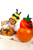 Baby with bee hat bite basket Royalty Free Stock Photography