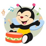 Baby Bee Playing Drum. Baby bee beating floor drum in a musical class Royalty Free Stock Images