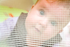 Baby behind playpen mesh Stock Photography