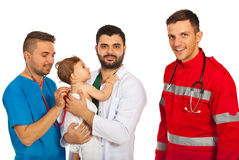 Baby being examine by doctors Royalty Free Stock Photography
