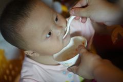 Baby being fed Stock Image