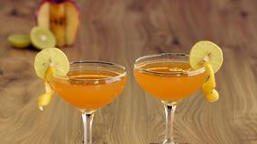 Baby Bellini is a sparkling non-alcoholic drink. Which is combination of fresh fruit juices Royalty Free Stock Photo