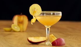 Baby Bellini is a sparkling non-alcoholic drink. Which is combination of fresh fruit juices Stock Image