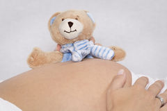 Baby belly with plush bear Royalty Free Stock Photos