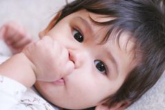 Baby betriebsbereit zu einem Haar Stockfotografie