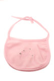 Baby bib. Pink fleecy baby bib on a white background stock photography