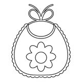 Baby bib with flower icon, outline style Royalty Free Stock Photography