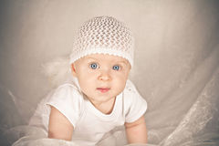 Baby with big blue eyes Royalty Free Stock Photos