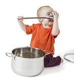 Baby with big cooking pot. On white background Stock Photos