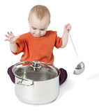 Baby with big cooking pot. On white background Stock Image