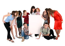 Baby and big group people with banner. Royalty Free Stock Image