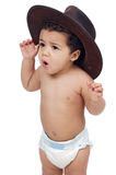 Baby with big hat royalty free stock images