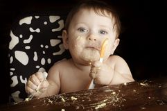 Baby bij maaltijd Royalty-vrije Stock Afbeelding