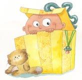 Baby binnen een giftdoos Stock Foto's
