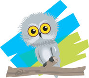 Baby bird. Illustration of of a baby bird sitting in a branch of tree Stock Photos