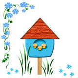 Baby birds birdhouse Stock Images
