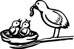 Baby birds feeded by mother vector illustration. Vector illustration of two baby birds being feeded by the mother royalty free illustration