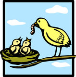 Baby birds feeded by mother vector illustration. Vector illustration two baby birds being feeded by mother royalty free illustration