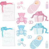Baby birth accessories and presents stock vector Royalty Free Stock Images