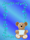 Baby birth announcement card it's a boy. A baby birth announcement card it's a boy with a cute bear and a scooter and a lot of blue stock illustration