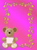 Baby birth announcement card it's a girl. A baby birth announcement card it's a girl with a cute bear and a butterfly and a lot of pink Stock Photo