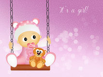 Baby birth announcement. Funny illustration of baby female on swing Royalty Free Stock Photo