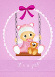 Baby birth announcement. Funny illustration of baby female on swing Royalty Free Stock Photos