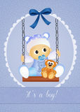 Baby birth announcement. Funny illustration of baby male on swing Royalty Free Stock Photos